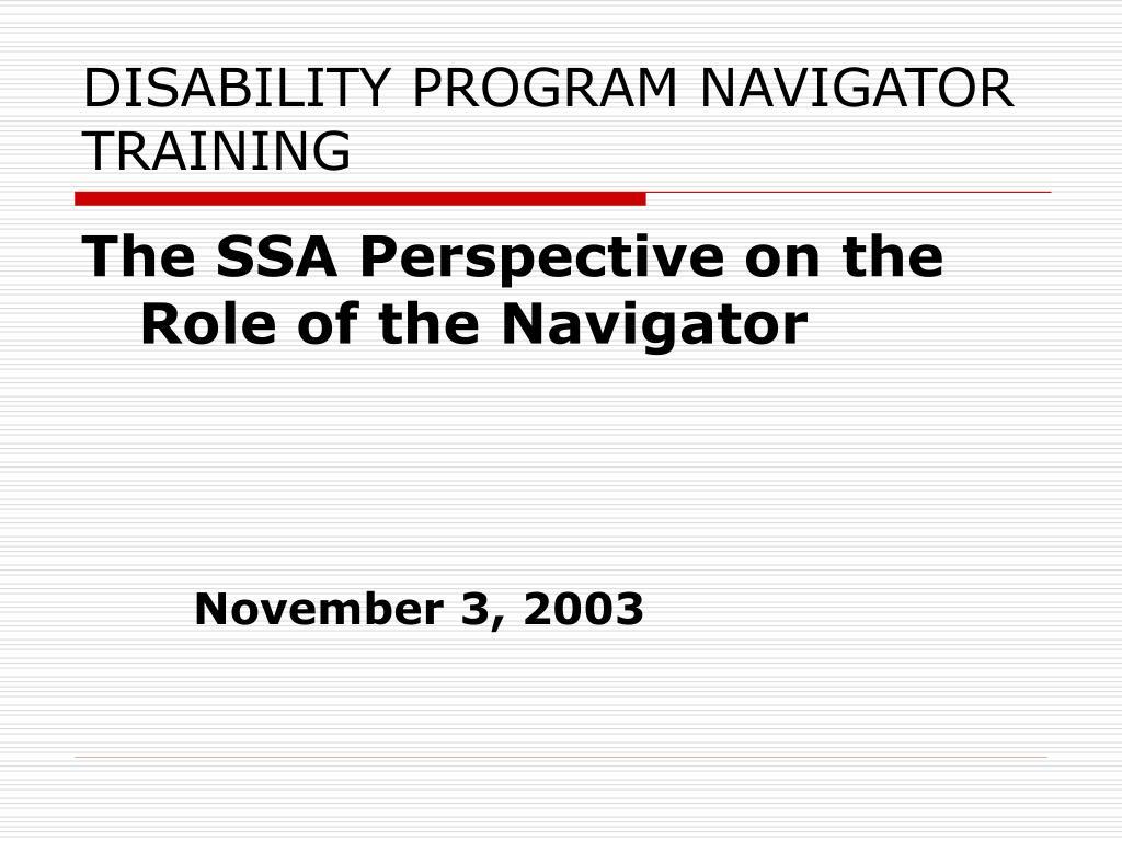 disability program navigator training l.