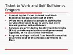 ticket to work and self sufficiency program