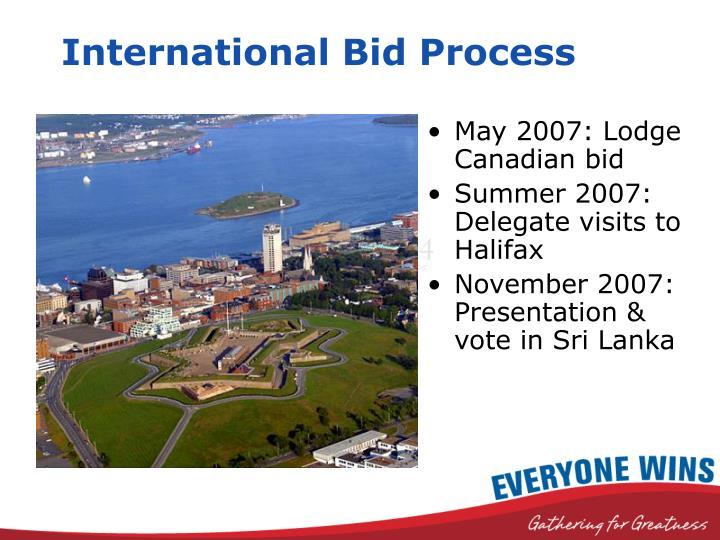 International bid process