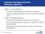 annuity savings account rollover options