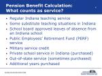 pension benefit calculation what counts as service
