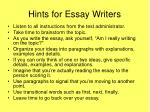 hints for essay writers