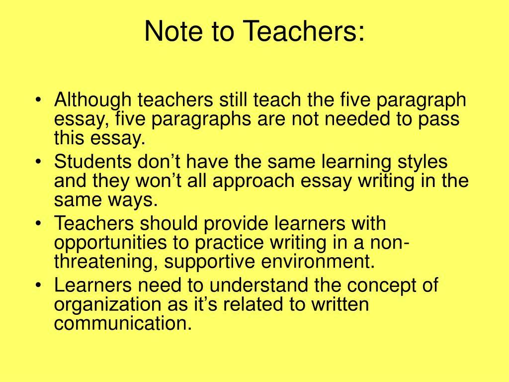 Note to Teachers: