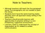 note to teachers