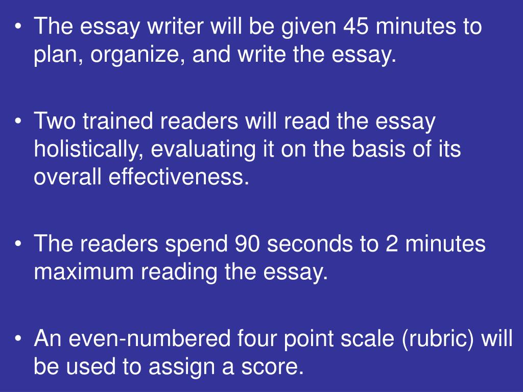 The essay writer will be given 45 minutes to plan, organize, and write the essay.