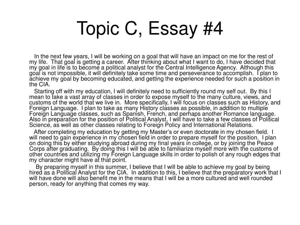 Topic C, Essay #4