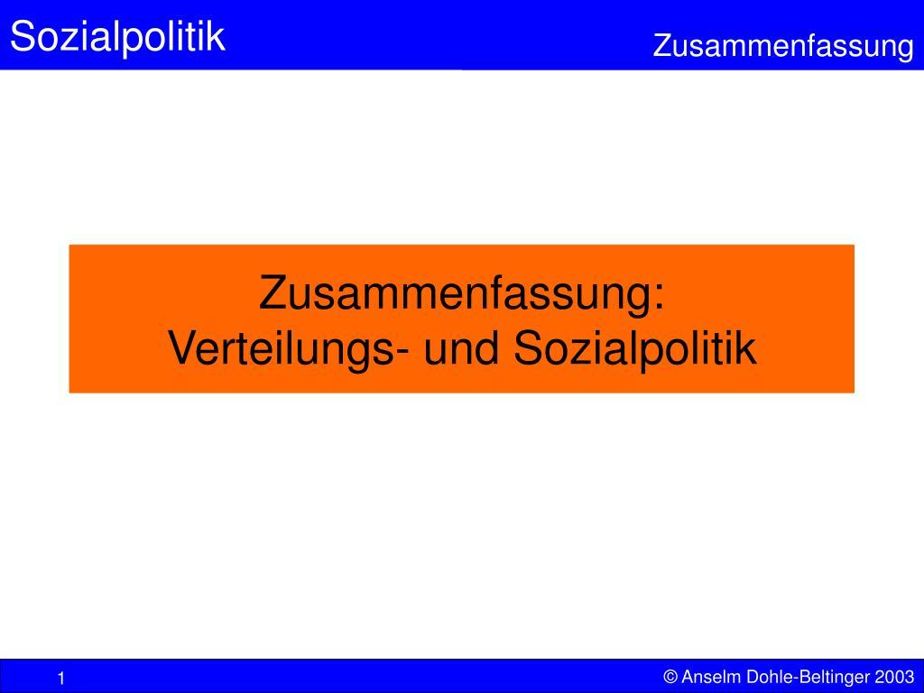 zusammenfassung verteilungs und sozialpolitik l.