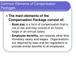 common elements of compensation packages