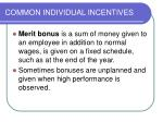 common individual incentives