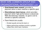 what are common group and organizational incentives lo5