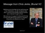 message from chris jenks brunel vc