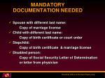 mandatory documentation needed