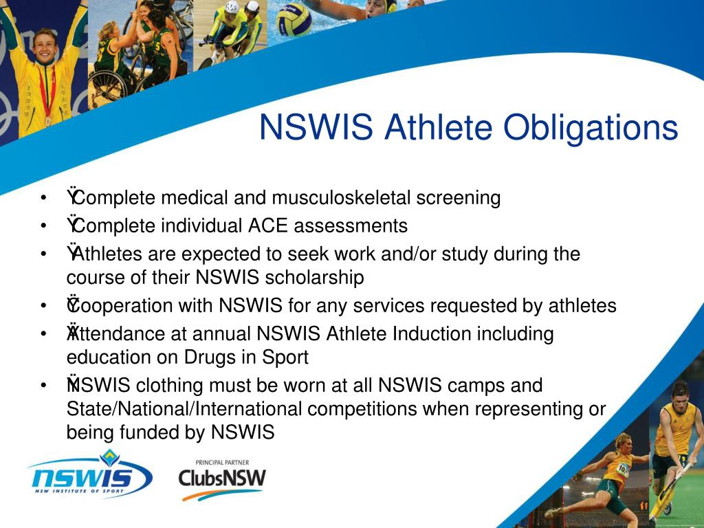 NSWIS Athlete Obligations