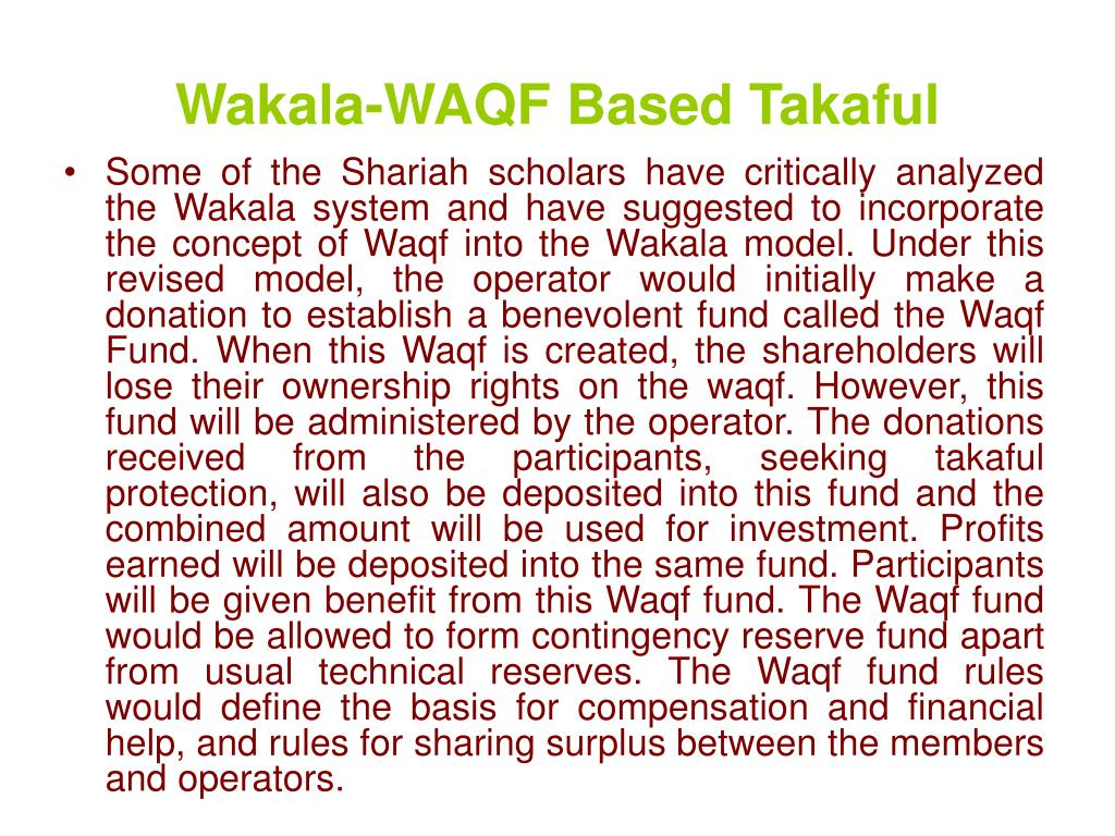 Wakala-WAQF Based Takaful