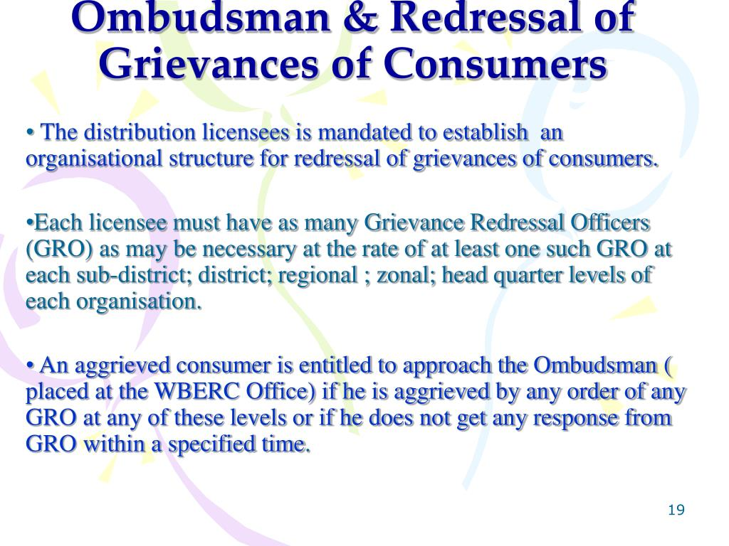Ombudsman & Redressal of Grievances of Consumers