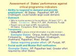 assessment of states performance against critical programme indicators