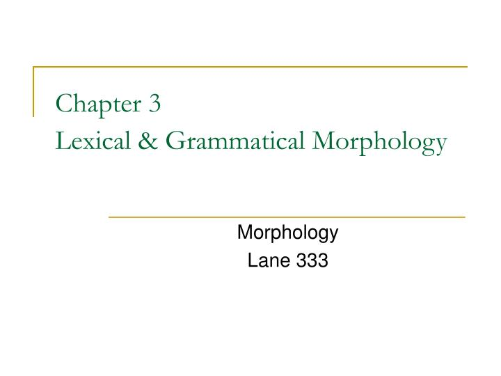 chapter 3 lexical grammatical morphology n.