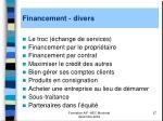 financement divers