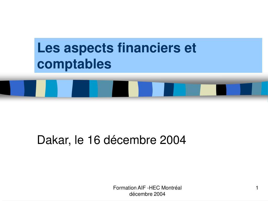 les aspects financiers et comptables l.