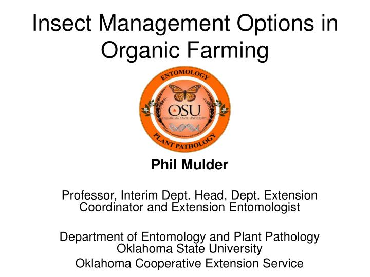 insect management options in organic farming n.