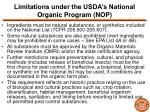 limitations under the usda s national organic program nop