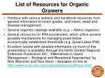 list of resources for organic growers