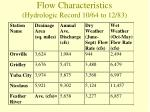 flow characteristics hydrologic record 10 64 to 12 83