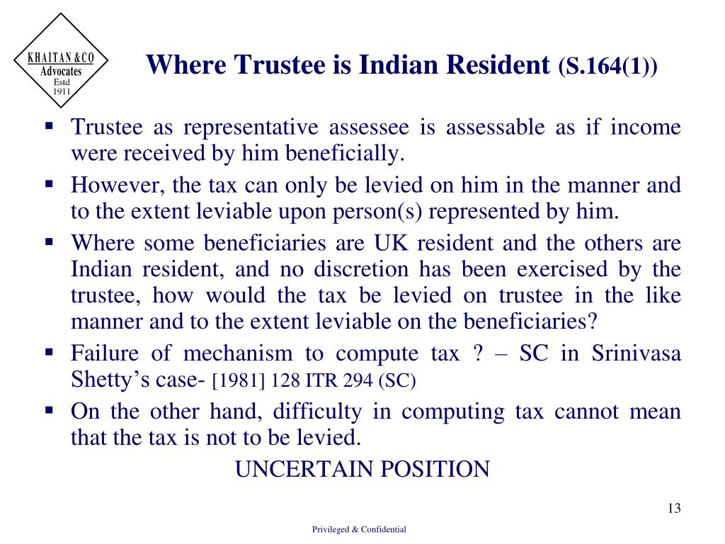 Where Trustee is Indian Resident