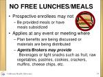 no free lunches meals