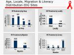 age locale migration literacy distribution idu sites