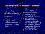 use of the simple difference method