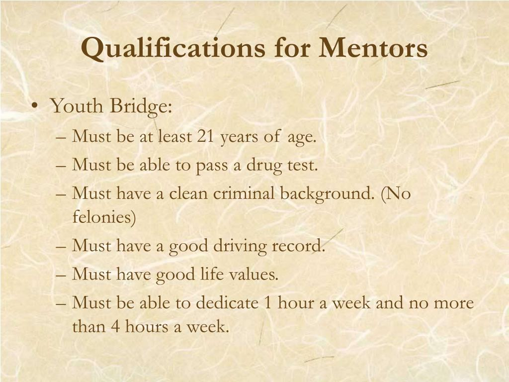 Qualifications for Mentors