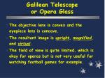 galilean telescope or opera glass