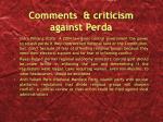 comments criticism against perda