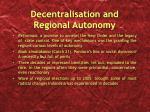 decentralisation and regional autonomy