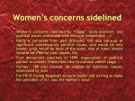 women s concerns sidelined