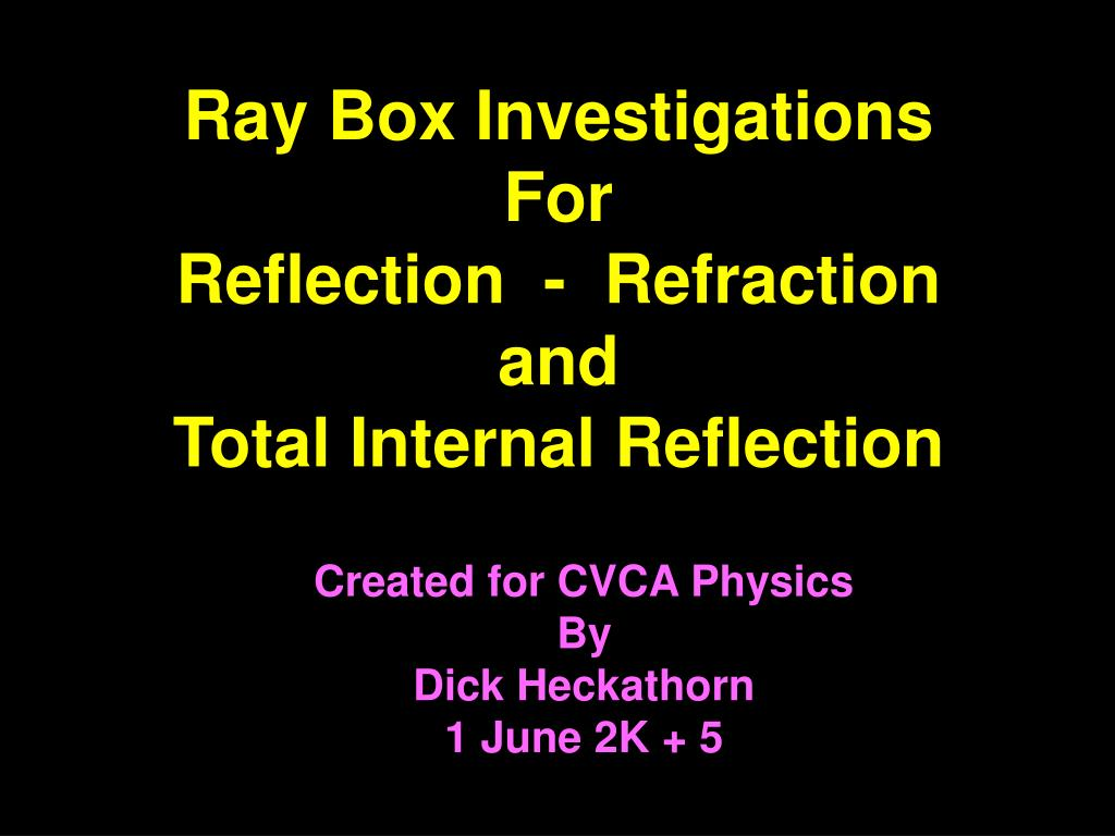 ray box investigations for reflection refraction and total internal reflection l.