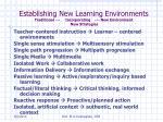 establishing new learning environments traditional incorporating new environment new strategies
