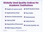 globally used quality indices for academic institutions