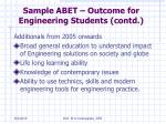 sample abet outcome for engineering students contd