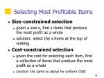 selecting most profitable items