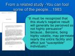 from a related study you can fool some of the people 1983