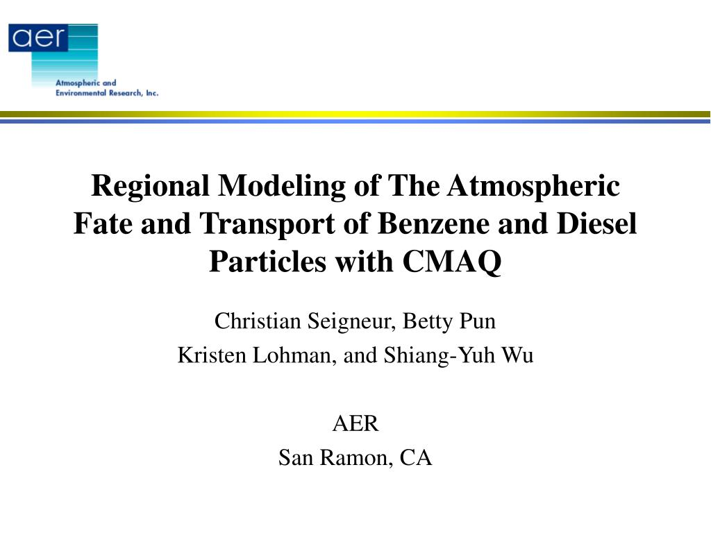 regional modeling of the atmospheric fate and transport of benzene and diesel particles with cmaq l.