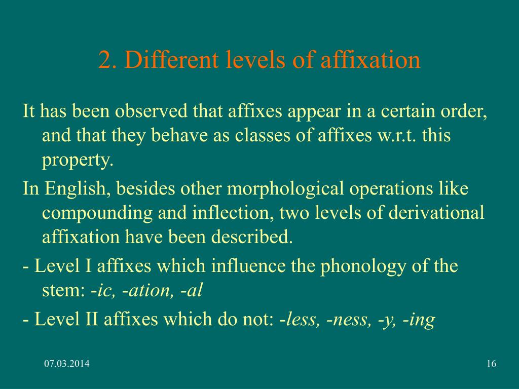 2. Different levels of affixation