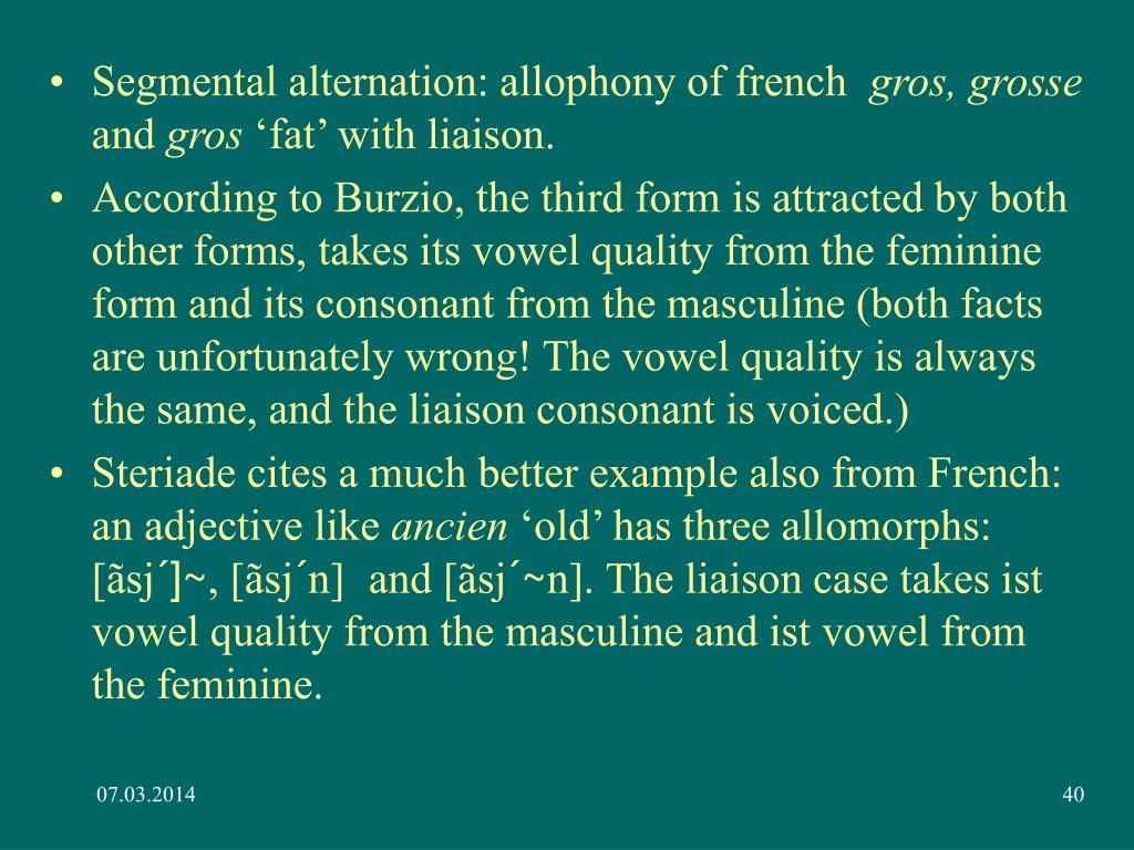 Segmental alternation: allophony of french