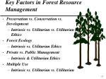 key factors in forest resource management