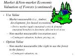 market non market economic valuation of forests continued