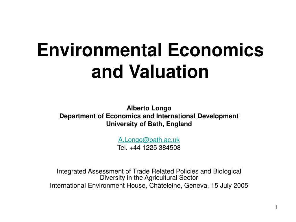 environmental economics and valuation l.
