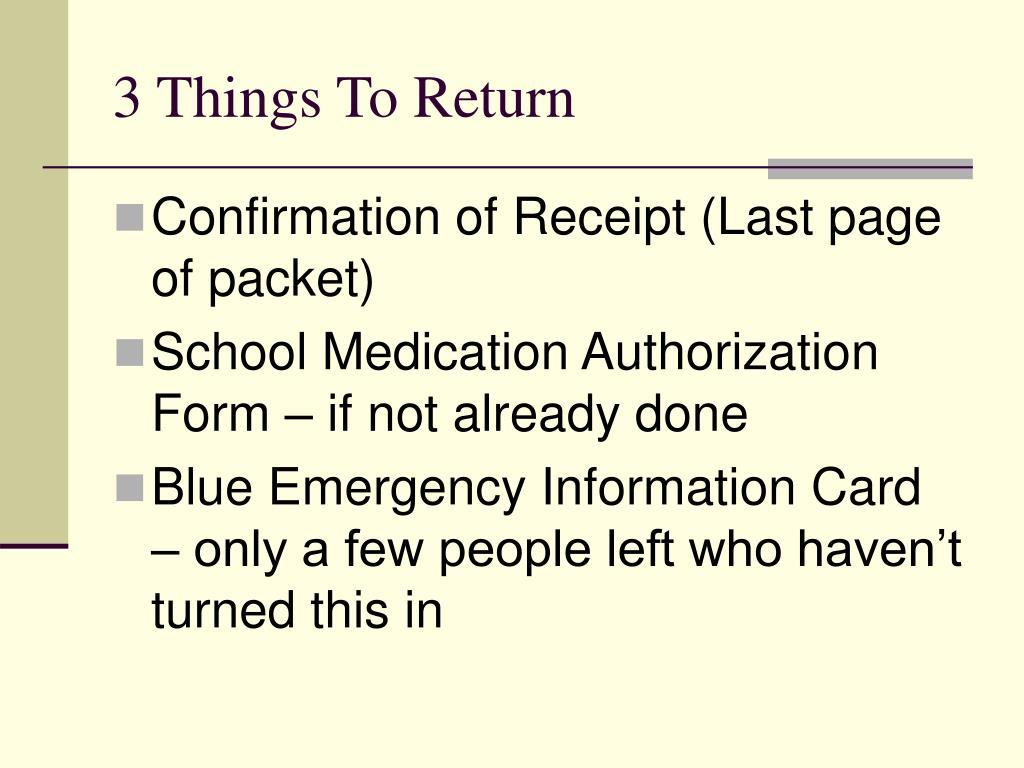 3 Things To Return