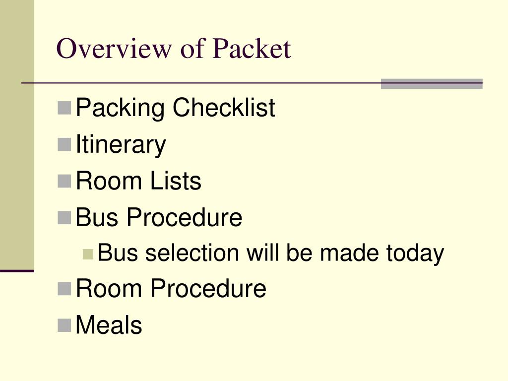 Overview of Packet
